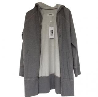 MM6 Maison Margiela Grey Oversized Long Hoodie with Printed Back