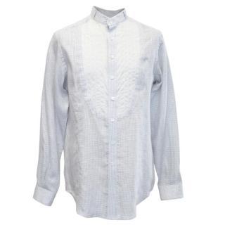 Patrik Ervell Light Grey Monk Shirt with Gingham Pattern