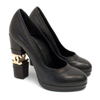 Chanel Black with Gold CC Logo 'Escarpin' Platform Heels