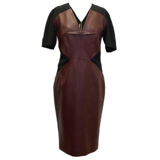 Roland Mouret Oxblood bodycon Dress With Leather Panel