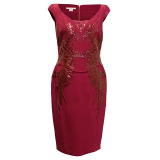 Antonio Berard Red Fitted Pencil Dress With Embelishment