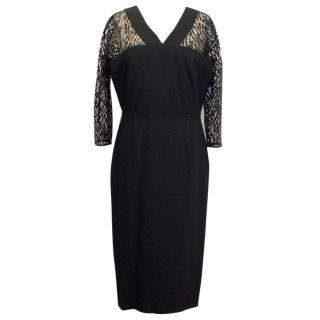 Roland Mouret Black Dress with 3/4 Length Lace Sleeves