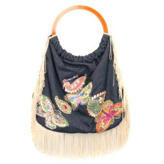 Matthew Williamson Denim Bag with Beige Tassels and Embroidery