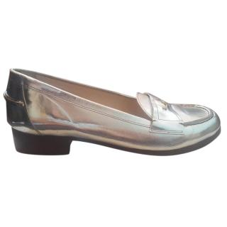 Escada leather shoes, silver, never worn