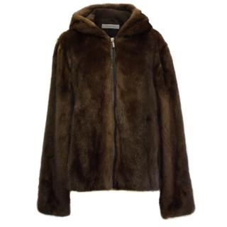 Gerard Darel Chocolate Brown Mink Jacket
