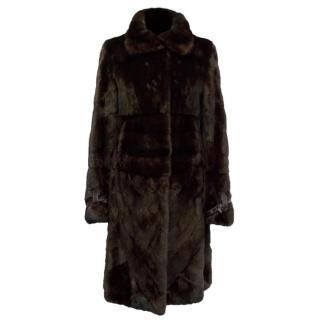 Fendi Chocolate Brown Fur Long line Mink Coat