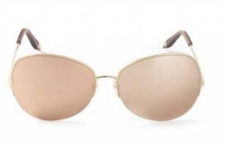 Victoria Beckham Gold Feather Round Sunglasses