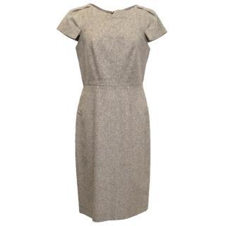 RM Roland Mouret Structured Beige Tweed Pencil Dress