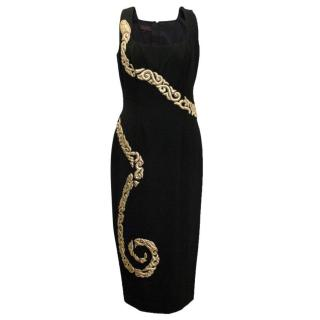 L'Wren Scott Black Square Neck Dress with Gold Snake Detail