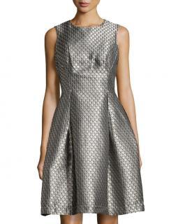 MAX STUDIO 'Patina' fit & flare silver grey gold jacquard dress