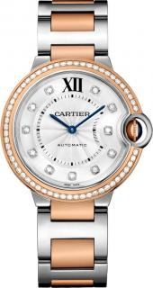 Cartier Ballon Bleu steel/rose gold diamond watch