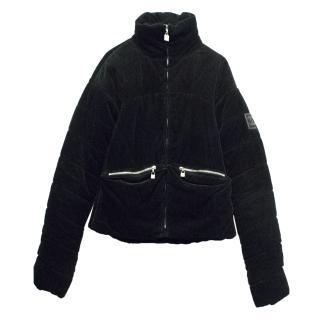 CHANEL Black Corduroy  Bomber Jacket