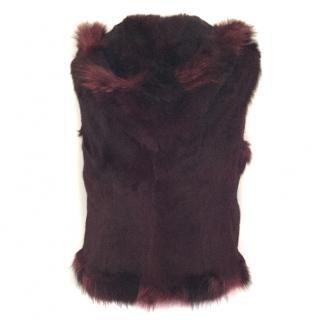 AnaRho Burgundy Rabbit Fur gilet