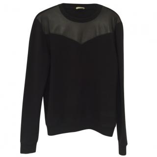 Saint Laurent Men's Leather Panel Jumper
