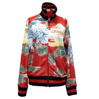 Gucci Men's Red Eagle Print Technical Jersey Jacket