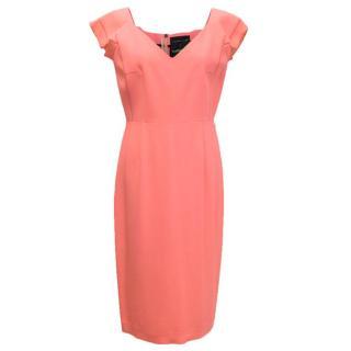 Rolando Mouret coral pencil dress with v zip up back