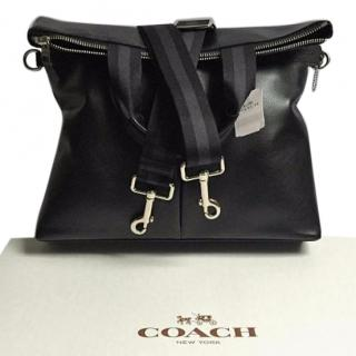 Coach Mens Black Foldover Leather Bag