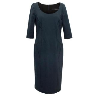 Amanda Wakeley Navy Blue Body con dress and black stiching