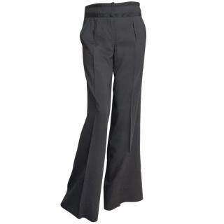 Diane Von Furstenberg navy wide wool mix trousers