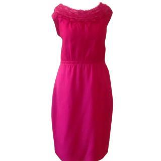 Elie Tahari hot pink cocktail party dress