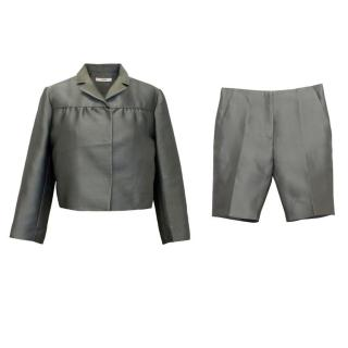 Prada Silk Blend Cropped Jacket And Short Two piece