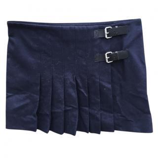 Vintage Celine navy pleated skirt