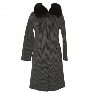 Christian Dior wool coat with fox collar