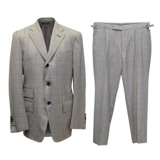 Tom Ford Grey Wool Check Two Piece Suit