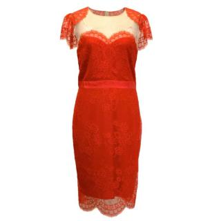Marchesa Notte Red Lace Dress With Mesh Paneling 'Shrug Effect' Dress