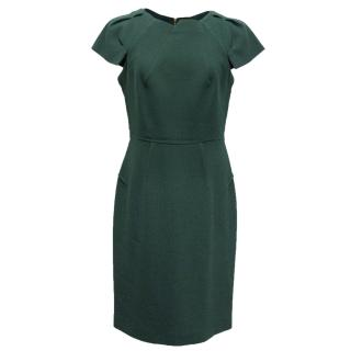 RM Roland Mouret green dress with gold zip and folded neckline detail