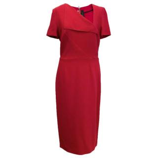 Roland Mouret Red pencil dress with gold zip up back