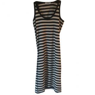 Sonia Rykiel cotton jersey stretch black/white stripe dress