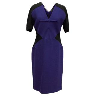 Roland Mouret blue fitted wool double crepe dress