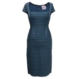 Herve Leger Petrol blue bandage dress