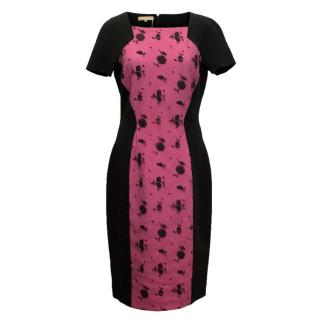 Michael Kors black body con dress with pink lace panel