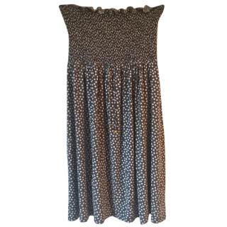 HEIDI KLEIN cotton strapless taupe & white polka dot dress
