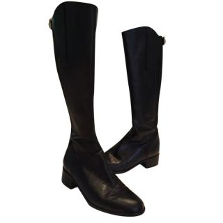 LK Bennett black leather knee high boots size 37