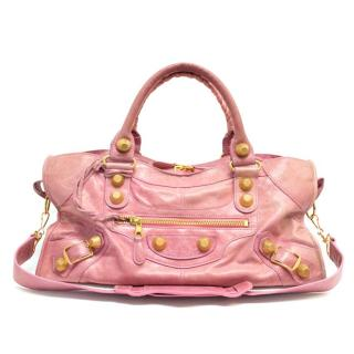 Balenciaga Pink City Bag With Gold Hardware