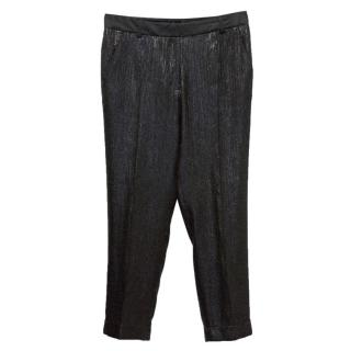 Kate Moss For Tophop Limited Edition Black Shiny Cigarette Trousers