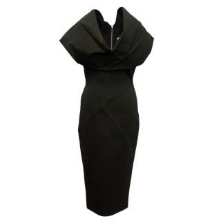 Victoria Beckham Black Draped Pencil Dress