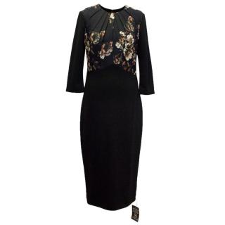 Jason Wu Black Floral Print Pencil Dress
