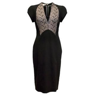 Antonio Berardi Black Lace Panel Pencil Dress