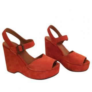 Chie Mihara Orange Suede Platform Sandals
