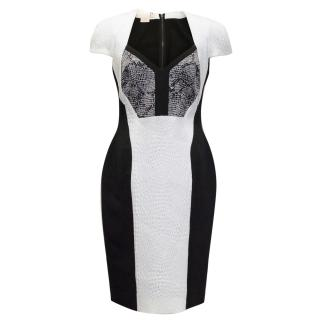 Antonio Berardi Black And White Snake Effect Pencil dress