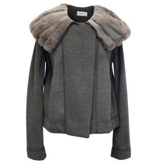 Pringle Of Scotland Grey Wool Jacket With Mink Collar
