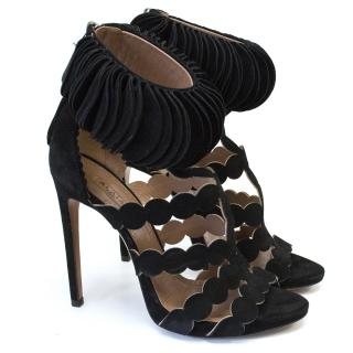 Alaia Laser Cut Black Sandal