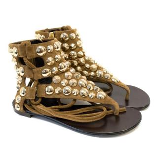 Giuseppe Zanotti Design Tan Leather studded Thong Sandals