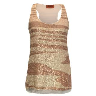 Missoni Pink Striped Sequin Tank Top