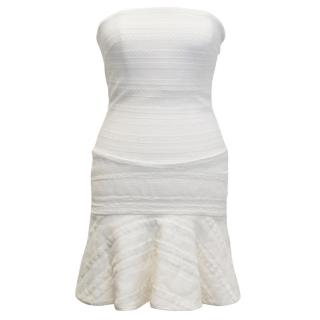 Jay Ahr Cream Strapless Lace Corset Dress