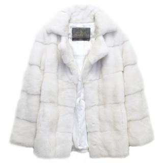 Lilly e Violetta White Natural Mink Fur Coat